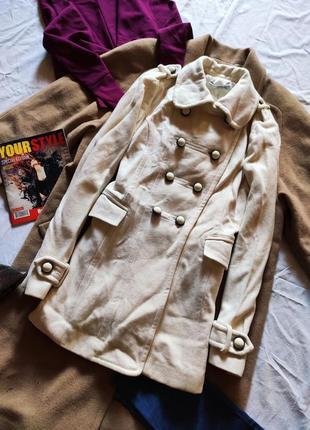 Шерстяное пальто белое тренч с большими карманами зара zara