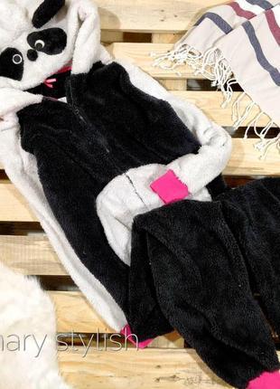 Слип человечек пижама черно белый мишка костюм для дома очень теплый