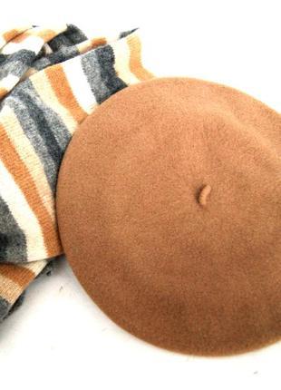 Фирменный шерстяной берет kangol  и шарф. 100% шерсть
