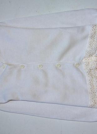F&f. кофта, кардиган цвета слоновой кости с кружевом. 2-3 года. рост 98 см