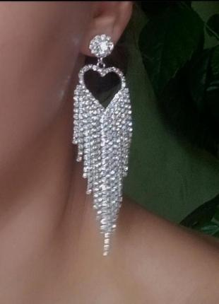 Серьги вечерние сердце серебро сережки серёжки