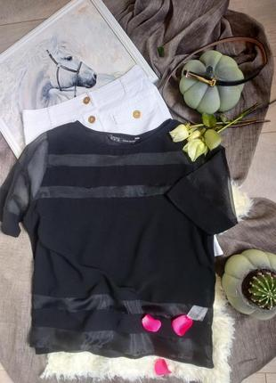 Блуза из плотного шифона со вставками органзы zara