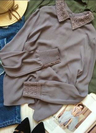 Шифоновая блузка с кружевом warehouse