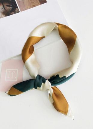 Платок платочек бант лента для волос на сумку топ-качество горчица зеленый