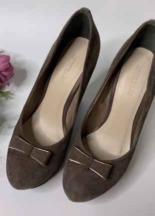 Туфли осень, туфли замш, туфли на танкетке, кожаные туфли, attizzare