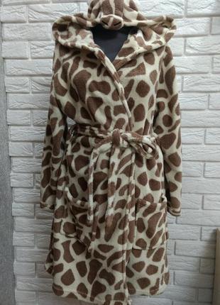 Мягкий уютный флисовый халат жираф love to lounge