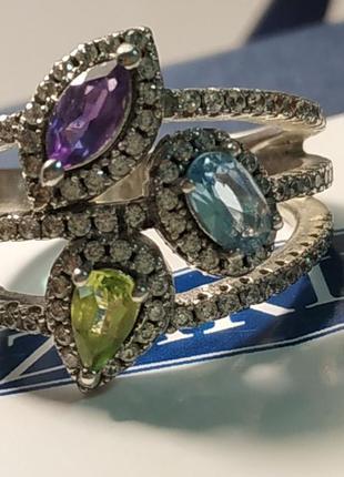 Серебряное кольцо с натуральными камнями тм kazka/zarina