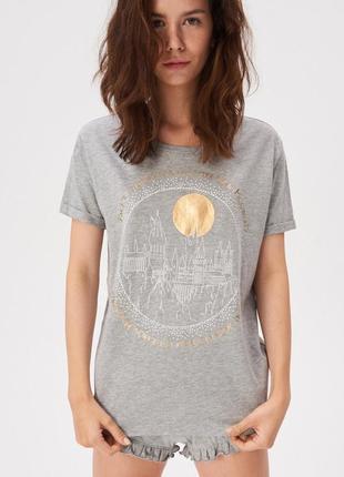 Новая серая пижама футболка шорты польша harry potter гарри поттер хогвартс xs s m l xl