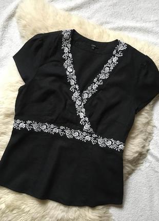 Шикарная блузка лён  с вышивкой linea