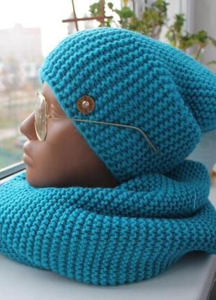 Новый комплект: шапка-чулок (на флисе) и хомут-восьмерка, голубой