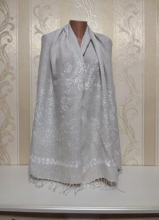 Льняной шарф, палантин с вышивкой, 100% лен.