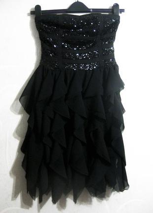 Платье danity мини короткое вечернее выпускное чёрное с пайетками блестящее воланы
