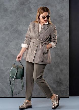 Осенний брючный костюм тройка жакет брюки блуза клетка клеточка шерсть