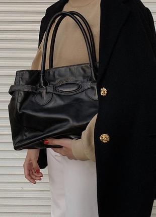 Кожаная сумка с длинными ручками