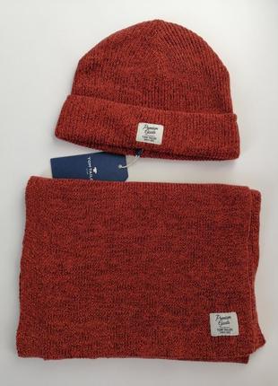 Набор шапка+шарф красивого насыщенного оранжевого цвета