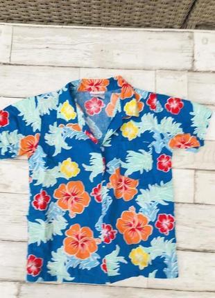 Рубашка пляжная , гавайка с принтом растений