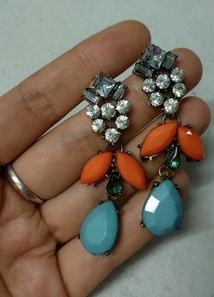 Серьги с камнями оранжевые