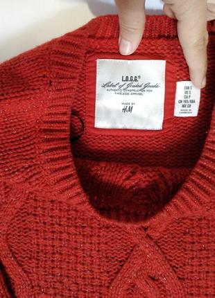 Красный свитер с золотой нитью2 фото