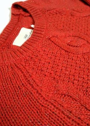 Красный свитер с золотой нитью5 фото