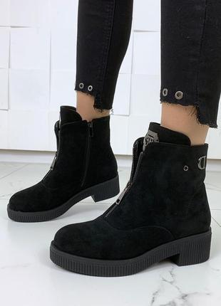 Стильные ботинки на низком ходу,чёрные замшевые ботинки с молниями на низком каблуке