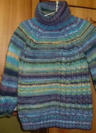 Оооочень теплый шерстяной свитер-реглан для девочки вязаный зимний