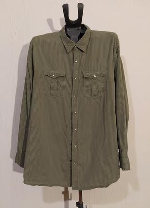 Рубашка хаки в мелкую полоску