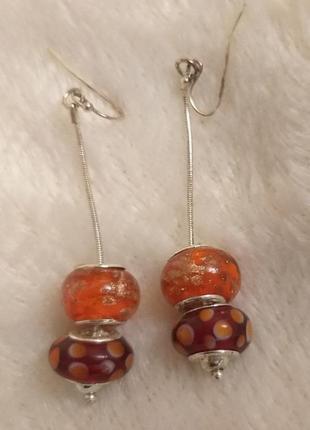 Серьги эйвон с оранжевыми бусинами