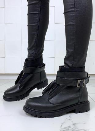 Кожаные тёплые ботинки на низком ходу,стильные ботинки из натуральной кожи на меху. .