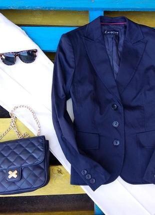 Luca di firenze стильный,деловой жакет, синего цвета от люкс бренда