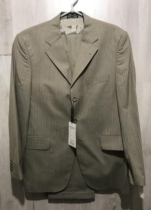Мужской классический костюм cole в бежевую полоску  082 (48)
