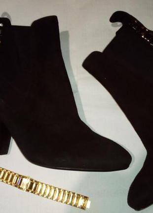 Демисезонные замшевые ботинки челси , толстый каблук