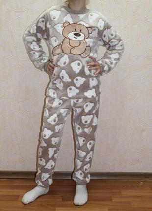 Теплая махровая пижама для девочки