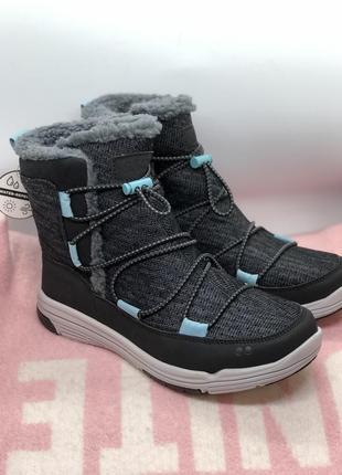 Серые водонепроницаемые зимние ботинки, дутики