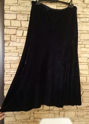 Натуральный шелк,вискоза,длинная бархатная синяя юбка