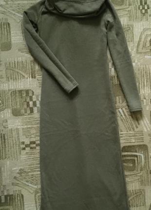 Платье хаки тёплое с начёсом макси длинное