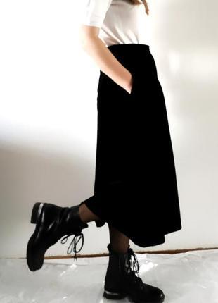 Роскошная винтажная бархатная юбка миди с карманами, винтаж, бархат,