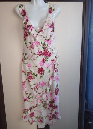 Платье сарафан на запах в цветочный принт, асимметрия, воланы.