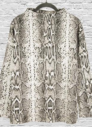 Женский свитер с анималистичным принтом, свободный свитер с воротником стойкой