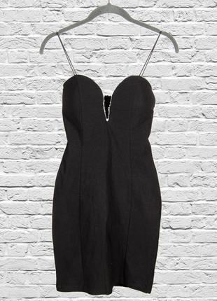Коктейльное платье черное короткое, нарядное платье на бретелях