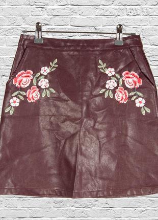 Кожаная юбка трапеция, бордовая юбка короткая