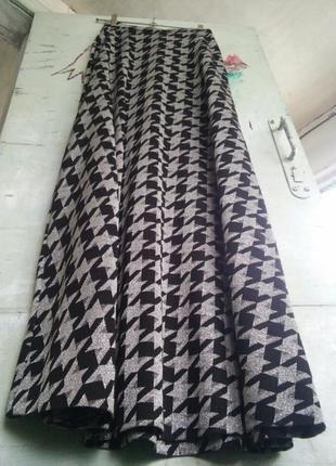 Металик макси трапеция длинная юбка