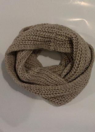 Хомут снуд шарф крупная вязка нюдовый  с шерстью