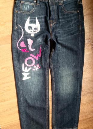 Авторская роспись!укороченные  джинсы 100% коттон