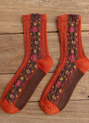 Стильные носки с вышивкой/оранжевый/морковный/новая коллекция/тренд
