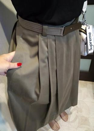 Крутая стильная брэндовая юбка трапеция макси с карманами и ремнем