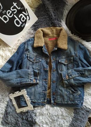 Куртка джинс джинсовка деним утеплена утепленная косуха бежевая базовая