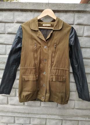 Куртка с кожаными рукавами xs-s