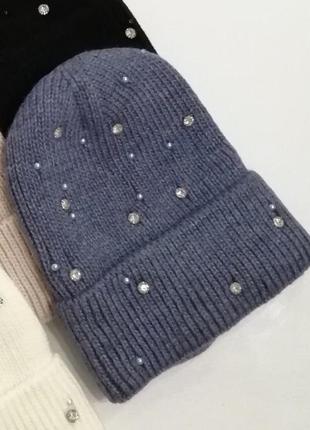 Шапка с отвлротом бусины камни жемчуг флис бини лопатка джинс синяя