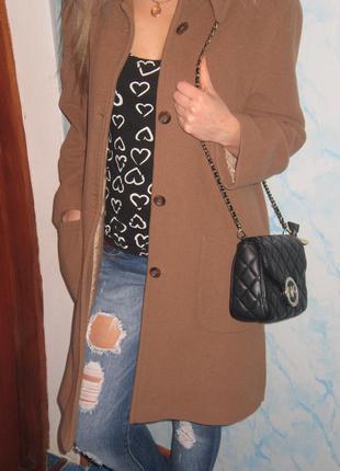 Стильное шерстяное  пальто-oversize с большими карманами1