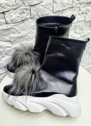 Ботинки, валенки, полусапожки черные натуральная кожа